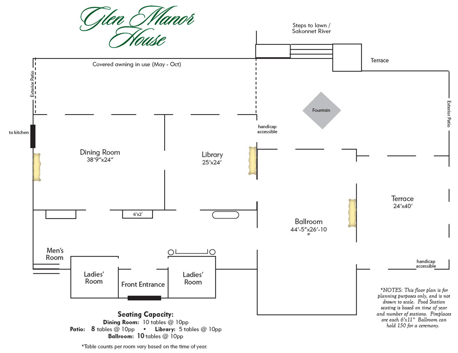 Floor plan glen manor house weddings and special for Wedding floor plan